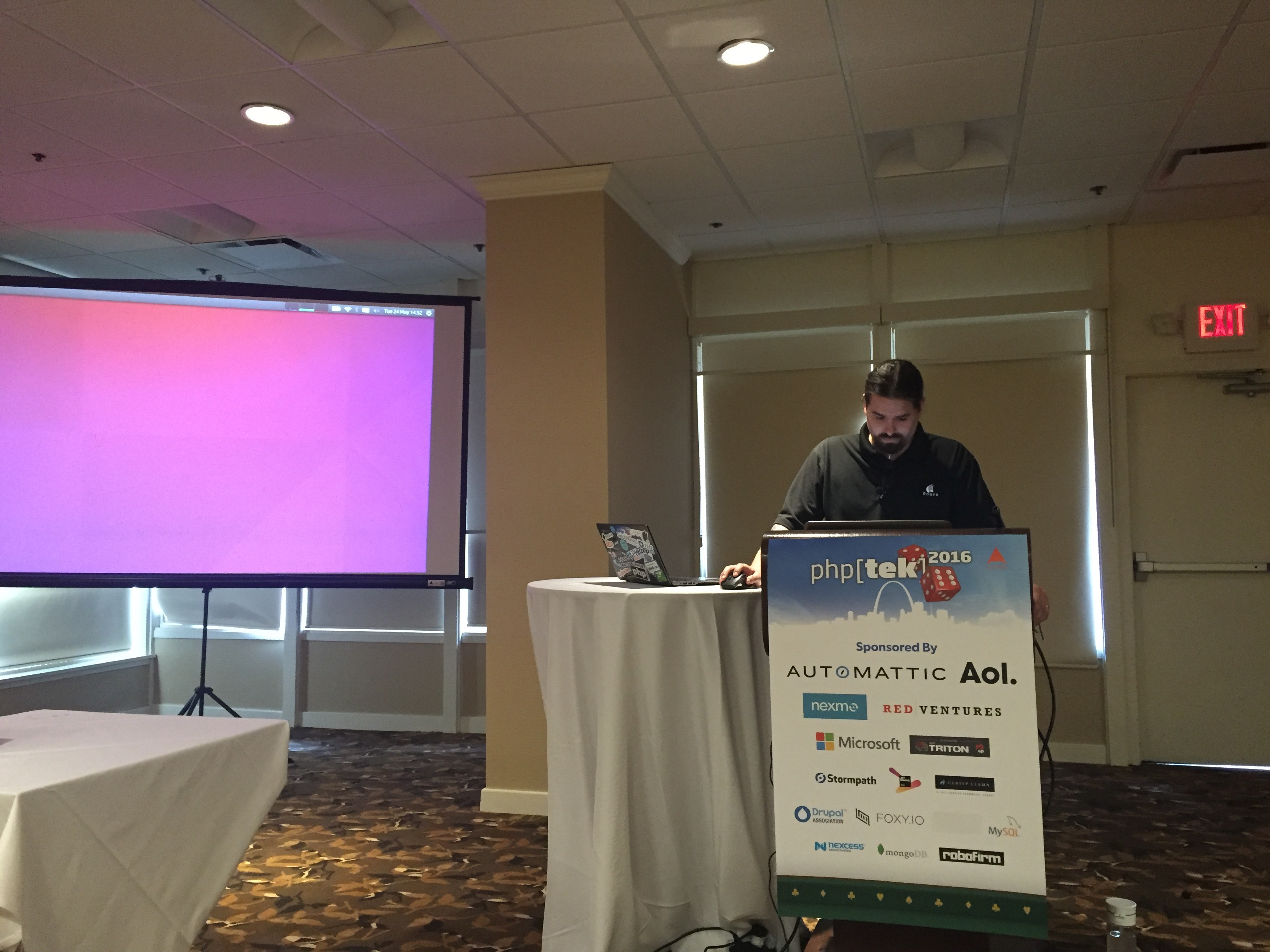James Titcumb Giving RabbitMQ Tutorial at php[tek]